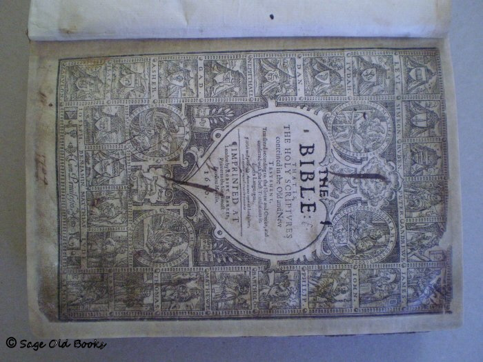 1610 Bible - Title page repaired with Japanese tissue